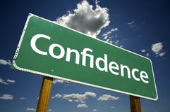 Confidence Road Sign stock images