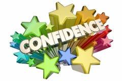 Confidence Self Assured Certain Word Stars. 3d Illustration Royalty Free Stock Photo