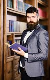 Confidence, success, education, research, literature concept. Professor holds book in vintage library. Bearded man in stock image