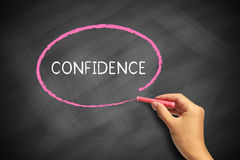 Confidence. Text written by red chalk on blackboard royalty free stock photography