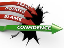 Confidence wins over negativity Stock Images