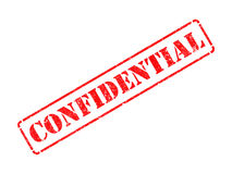 Confidencial no carimbo de borracha vermelho. Fotografia de Stock Royalty Free