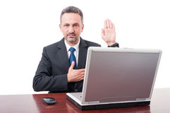 Confidend businessman swearing or promise something Stock Photo