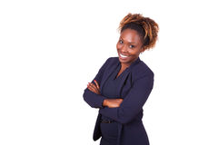 Confident African American business woman with folded arms. Isolated on white background stock photo