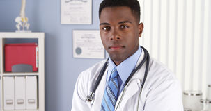 Confident African American doctor in clinic Royalty Free Stock Photography