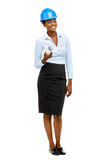 Confident African American woman architect full length portrait. Smiling stock images