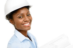 Confident African American woman architect smiling close-up whit Stock Image