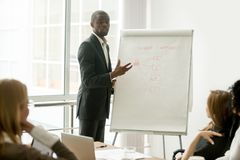 Confident african speaker giving presentation to multi-ethnic gr. Confident african speaker gives presentation to multiracial sales team with flipchart, black Stock Photography