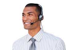 Confident Afro-american customer service agent Stock Photos