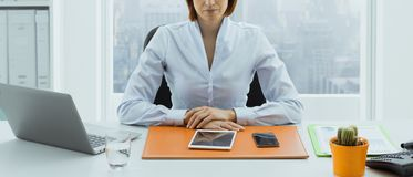 Confident American businesswoman posing in her office stock image