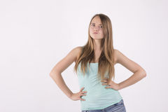 Confident angry woman. Confident angry young blonde woman Stock Photo