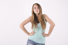 Confident angry woman. Confident angry young blonde woman Royalty Free Stock Photos