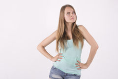 Confident angry woman. Confident angry young blonde woman Stock Image