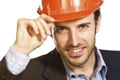Confident architect. Closeup portrait of young confident architect Stock Image
