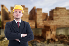 Confident architect on construction site Royalty Free Stock Images