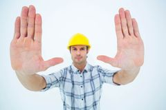Confident architect forming hand frame Stock Images