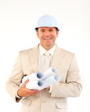 Confident architect holding blueprints Royalty Free Stock Images