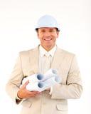 Confident architect holding blueprints Royalty Free Stock Images