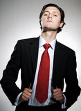 Confident arrogant businessman. Highly successful business man in suit poses pulling his suit lapels with an arrogant tilt to the chin royalty free stock image