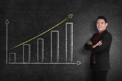 Confident asian business man smile with chalk board graph Stock Photos
