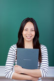 Confident asian woman holding application folder Royalty Free Stock Image