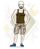 Confident athletic handsome hairless young man standing. Vector. Illustration of male wearing casual clothes, jeans shorts and singlet royalty free illustration
