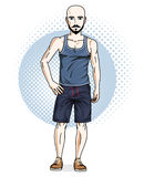 Confident athletic handsome hairless young man standing. Vector. Illustration of male wearing casual clothes, shorts and singlet stock illustration