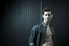 Confident Athletic Man In Unbuttoned Shirt Royalty Free Stock Images