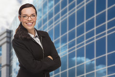 Confident Attractive Mixed Race Woman in Front of Corporate Buil Stock Images