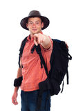 Confident backpacker pointing at you Royalty Free Stock Image