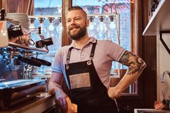 Barista with stylish beard and hairstyle wearing apron smiling and looking sideways while leaning on a counter in the. Confident barista with stylish beard and stock photography