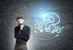 Confident bearded businessman, questions Stock Photography