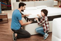 Confident bearded father with small boy choose orthopedic mattress in furniture store. Choosing mattress in store. Healthy posture concept royalty free stock photos