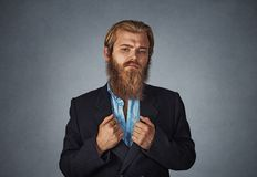 Confident bearded hipster businessman stock images