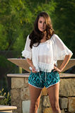 Confident beautiful brunette fashion model Royalty Free Stock Photography