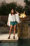 Confident beautiful brunette fashion model Stock Photos