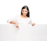 A confident and beautiful customer support operator Stock Images