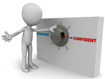 Confident. Being confident from being hesitant, little man turning the knob Royalty Free Stock Images
