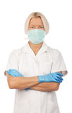 Confident blonde nurse in hospital Stock Photo