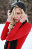 Confident Blonde Woman in Winter Stock Photos