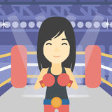Confident boxer in gloves vector illustration. Stock Image