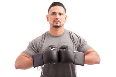 Confident boxer ready to fight Royalty Free Stock Images