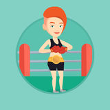 Confident boxer in the ring vector illustration. Stock Images