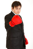 Confident with boxing gloves showing come on Stock Images