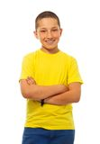 Confident boy in yellow shirt Royalty Free Stock Image