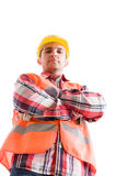 Confident builder or constructor from low angle Stock Images