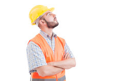 Confident builder or engineer looking up right Stock Image