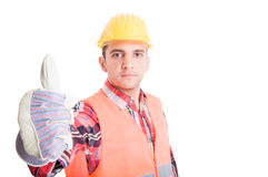 Confident builder showing thumb up Stock Photography