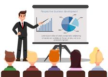 Confident Business Coach Color Vector Illustration. Man Giving Presentation on Stage. Interactive Training. Audience in Hall. Office Worker Pointing on Graph royalty free illustration