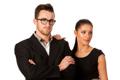 Confident business couple standing next to each other. Woman lea Stock Photos